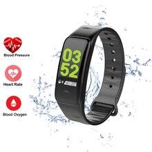 C1 Plus kolorowy ekran Bluetooth inteligentna bransoletka ciśnienie krwi inteligentna opaska tętno Tracker do monitorowania aktywności fizycznej inteligentna opaska sportowa na nadgarstek
