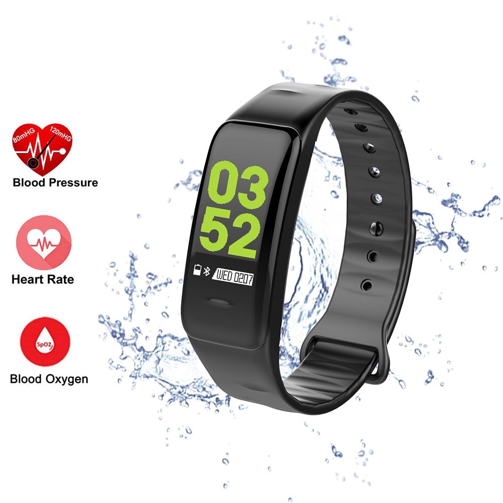 C1 Plus pantalla de Color Bluetooth pulsera inteligente de presión arterial banda inteligente Monitor de ritmo cardíaco rastreador deportivo pulsera inteligente
