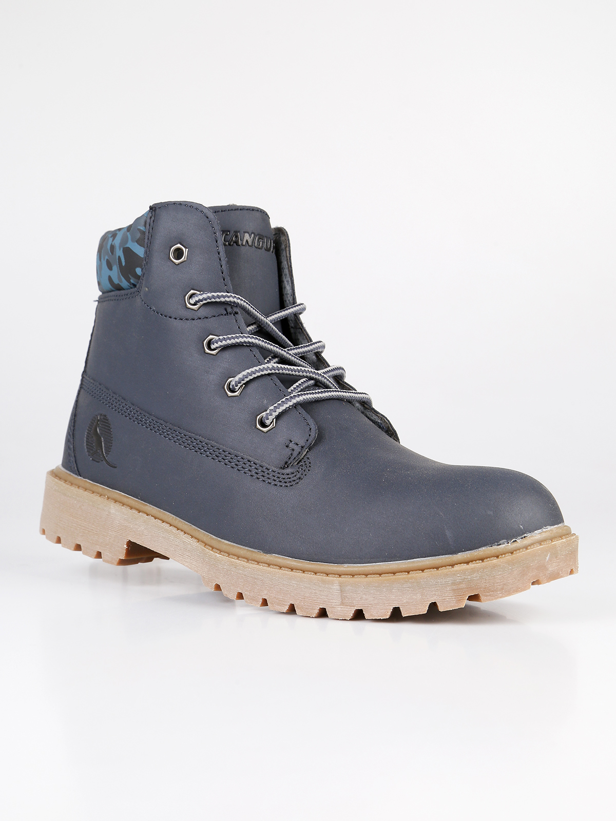Boots Blue Lace-up And Zipper