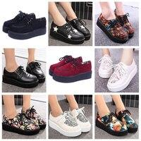 Creepers Shoes 35 41 Women Shoes Plus Size Ladies Platform Shoes 2017 Women Flats Shoes