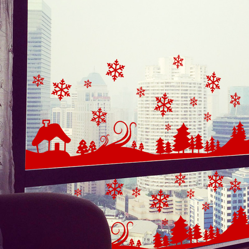 Christmas decoration wall sticker home decor snow town tree wall decals shop window glass - Wall decor stickers online shopping ...