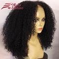 180 densidad peluca rizada Afro rizado 100% del pelo humano Brasileño rizado rizada peluca llena del cordón y sin cola de encaje frente pelucas para negro mujeres