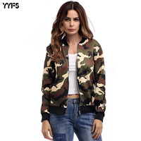 2018 Autumn Clothing New Pattern Woman Loose Coat Camouflage Fashion Zipper Jacket Baseball