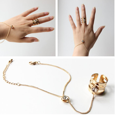 Girl s Two Bands Ring Chain Adjustable Rose Couple Finger Rings