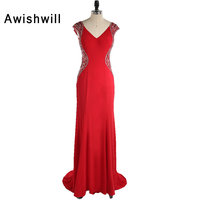 Fashion Double V Neck Party Wear Long Dress Cap Sleeve Beadings Red Evening Gowns For Women