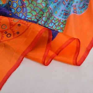 Image 5 - Turuncu mavi kış kadın saf ipek eşarp şal ilkbahar sonbahar moda büyük zarif klasik uzun eşarp sarar baskılı 180*110cm