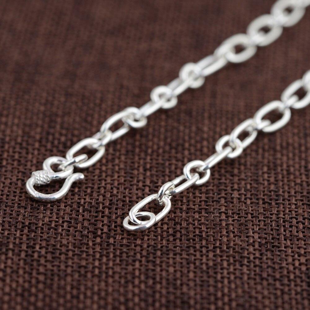 925 chaîne à maillons en argent collier pour femmes accessoires largeur 5mm 50 cm à 80 cm S925 Thai solide argent fabrication de bijoux colliers - 6