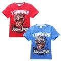 2015 Summer New Jurassic Park t shirt Clothes 4~12 years big boy cotton short sleeve t-shirts children top tees 5pcs/lot