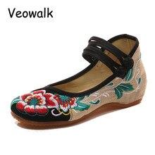 Veowalk Große Größe 41 Frühling Frau Alte Peking Tuch Schuhe Chinesischen Blütenstickerei Lässig Tanzen Wohnungen Für Frauen Zapatos Mujer