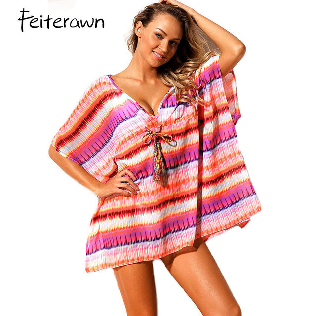 e65a13376a Cheap Feiterawn Sexy V-neck Beach Dress Tunic 2018 Multicolor Geometric  Print Caftan Lace-