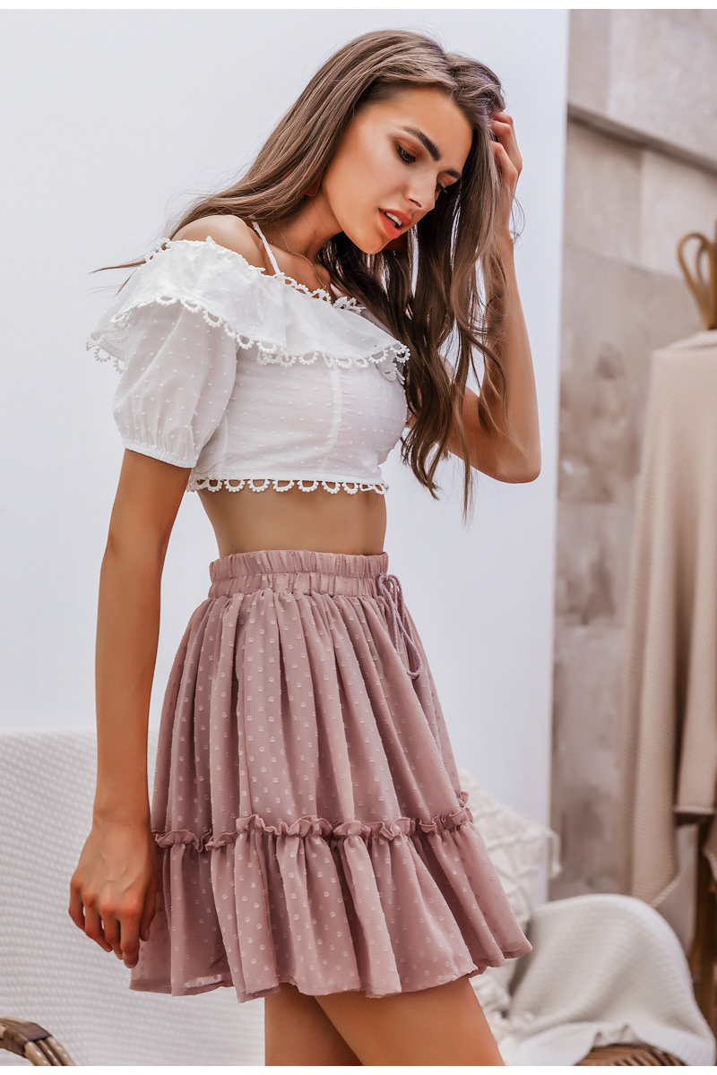 Simplee Casual polka dot mini women skirt High waist A line korean tassel pink summer skirt Sexy ruffle beach female skirts 2019 9