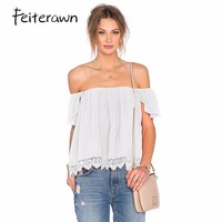 Feiterawn 2017 Fashion White Off Shoulder T Shirts Sexy Hollow Out Summer Women Crop Top Slash