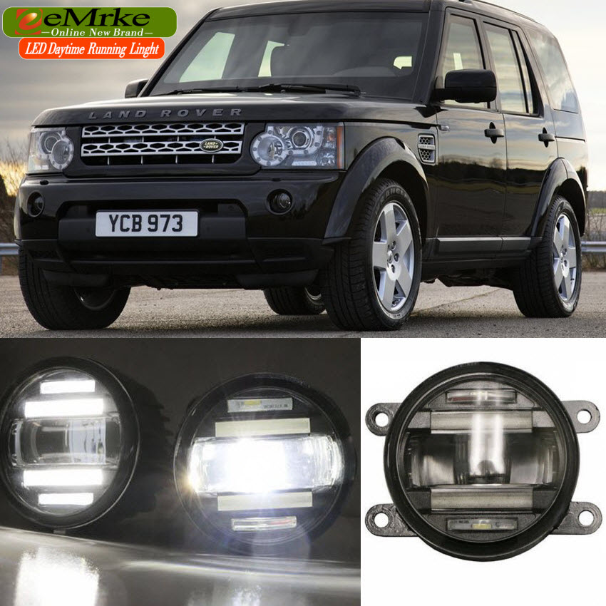 eeMrke Car Styling For Land Rover DISCOVERY 4 LR4 LA 2010-2013 2 in 1 LED Fog Lights Lamp DRL With Lens Daytime Running Lights eemrke car styling for opel zafira opc 2005 2011 2 in 1 led fog light lamp drl with lens daytime running lights
