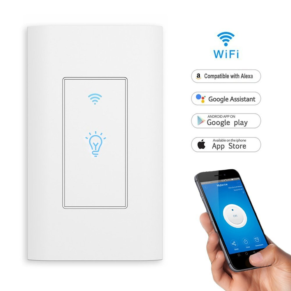 Tuya Smart Light Touch Switch WiFi Remote Control Wireless Single Pole  Switch No Hub Required Works with Alexa and Google Home
