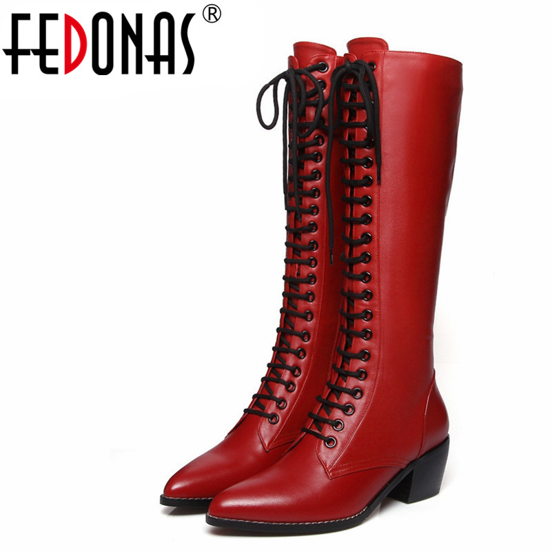FEDONAS New Women Knee High Boots Genuine Leather Autumn Winter Warm High Heels Shoes Woman Round Toe Cross-tied Quality ShoesFEDONAS New Women Knee High Boots Genuine Leather Autumn Winter Warm High Heels Shoes Woman Round Toe Cross-tied Quality Shoes