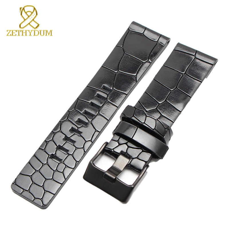 Bracelet en cuir véritable 24mm 26mm bracelet de montre bracelet de montre épais montres bande hommes montres marque accessoires de montre