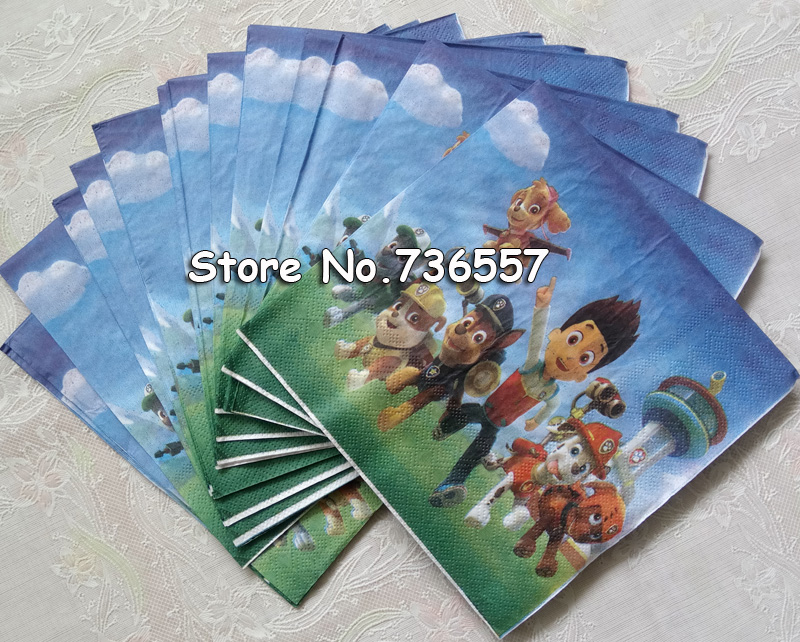 20pcs/bag dog Paper Napkin Cartoon Party For Kids Birthday Decoration Theme Party Supplies Patrolling party