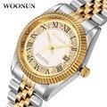 Woonun mens relógios top marca de luxo de ouro diamante relógios de quartzo business casual relógio dos homens de aço inoxidável relógio de pulso relógios