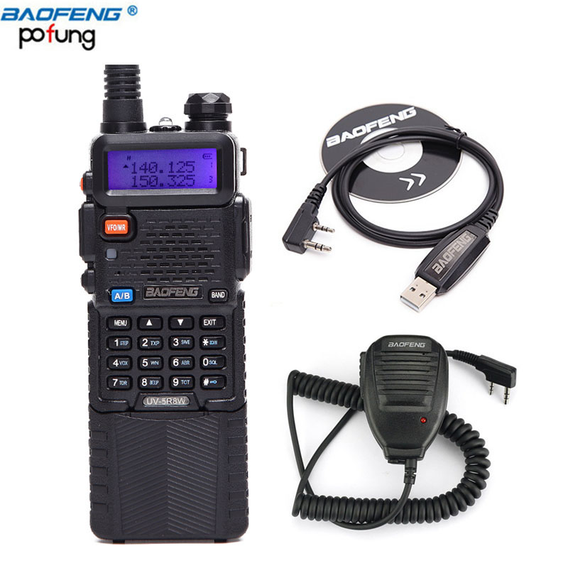 Baofeng UV-5R8W Tri-Puissance 1 w/4 w/8 w Portable Two Way Radio 10 km Talkie walkie BAOFENG 3800 mah batterie + haut-parleur + câble usb