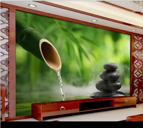 spa salon wall bamboo bathroom yoga mural water 3d stone forest background decor bedroom hotel fresh rolls livingroom zoom tv