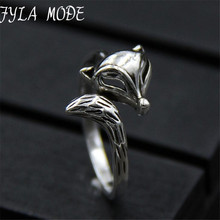 Fyla Mode Trendy Cute Silver Fox Ring for Women 925 Sterling-Silver Animal Finger Ring Fine Jewelry 2017 New Year Gifts