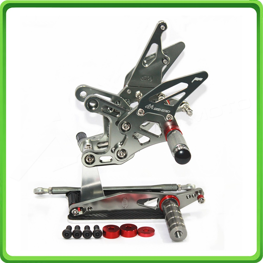 CNC Adjustable Rearsets rear set sets footrest foot rest pegs for Yamaha R1 09 10 YZF R1 2009 2010 2011 2012 2013 2014 Gray