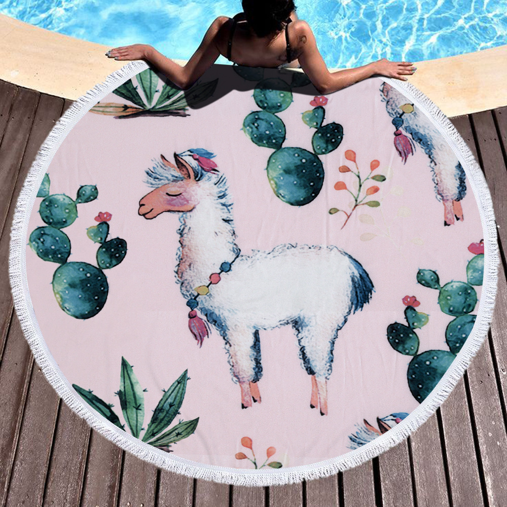Pink Cute Alpaca Thick Terry Cloth Unicorn Microfiber Round Beach Towel Blanket For Girls Adults Serviette Drap De Plage Bain