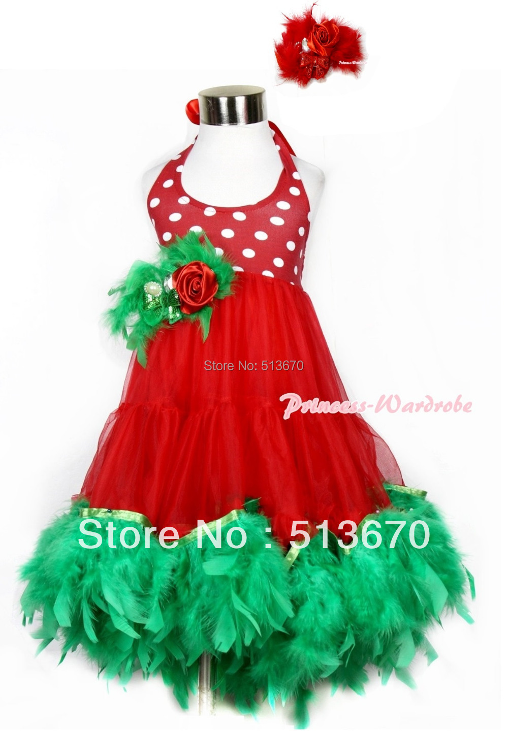 Xmas Red White Polka Dots ONE-PIECE Petti Dress Kelly Green Posh Feather & Red Feather Rose Bow With Accessory 2PC Set MALP26-2 red white polka