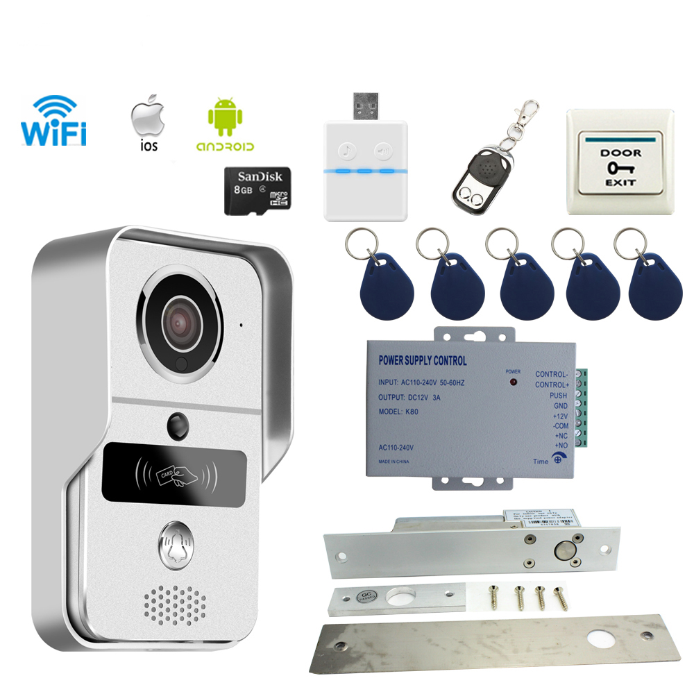 JERUAN Smart Doorbell Wireless WiFi Video Door phone Intercom Kit Smartphone View Unlock IOS Android 8GB CARD In Stock 2016 new wifi doorbell video door phone support 3g 4g ios android for ipad smart phone tablet control wireless door intercom