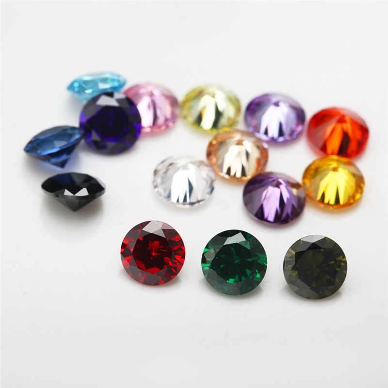 "1 PCS לכל צבעים סה""כ 15 pcs גודל 4mm ~ 10mm צורה עגולה Loose מעוקב Zirconia אבן CZ"