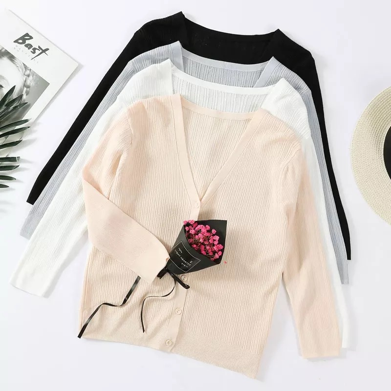 Knitted Cardigan Womens Summer Air Condition Loose Knitted Thin Three Quarter Sleeve Solid Coat Cardigan Female Sweater