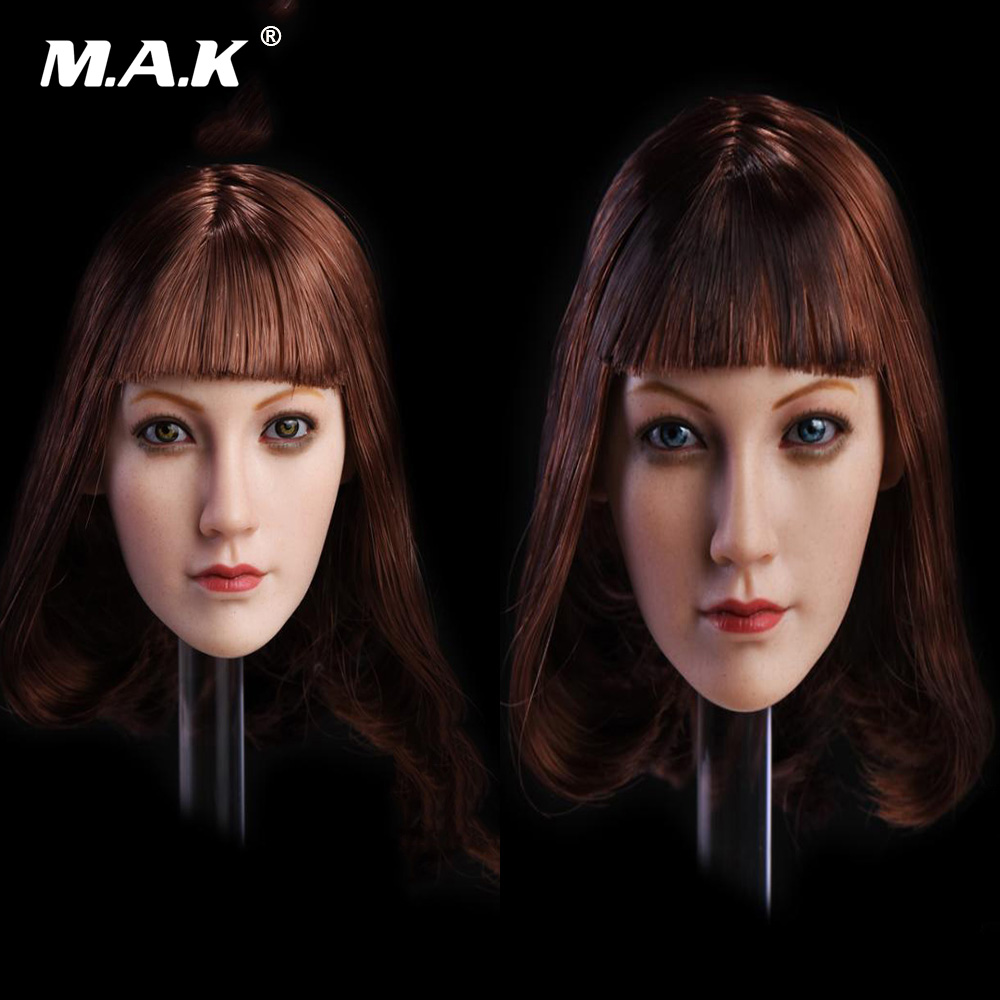 1:6 Scale Female Lin Head Carving Middle Hair with Blue /Brown Head Sculpt Model for 12'' Woman Suntan Color Action Figure Body 1 6 stairs batman robin detective blake joseph gordon blake head sculpt carving for hot toys body for 12phicen action figure