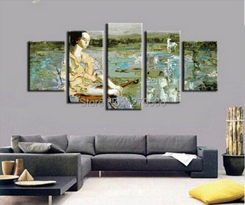 100% Hand  Oil Painting On Canvas 5Pcs/set Paintings Wall Decoration An Ancient Man Who Is Reading