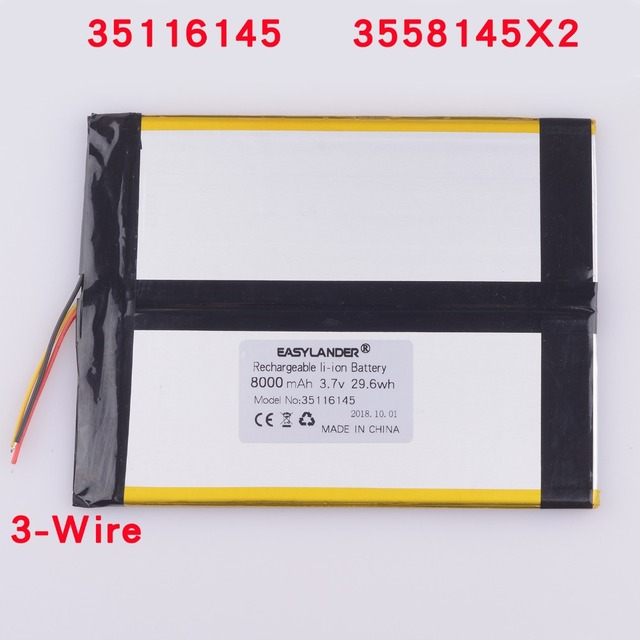 US $16 99 |35116145 3 7V 8000mAh Battery for Tablet PC Li Polymer Polymer  3558145X2 power bank ebook backup power supply -in Replacement Batteries