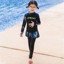 2020 ארוך שרוול אסלאמי לשחות ללבוש עבור בנות מוסלמי ילדים skirtfull כיסוי בגד ים בגדי אופנה צנועה ילדים בגד ים