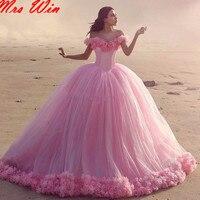 Пользовательские розовый quinceanera платья дебютантка длинный хвост vestidos de 15 anos quinceanera платья цветы украшены sweet 16 платья