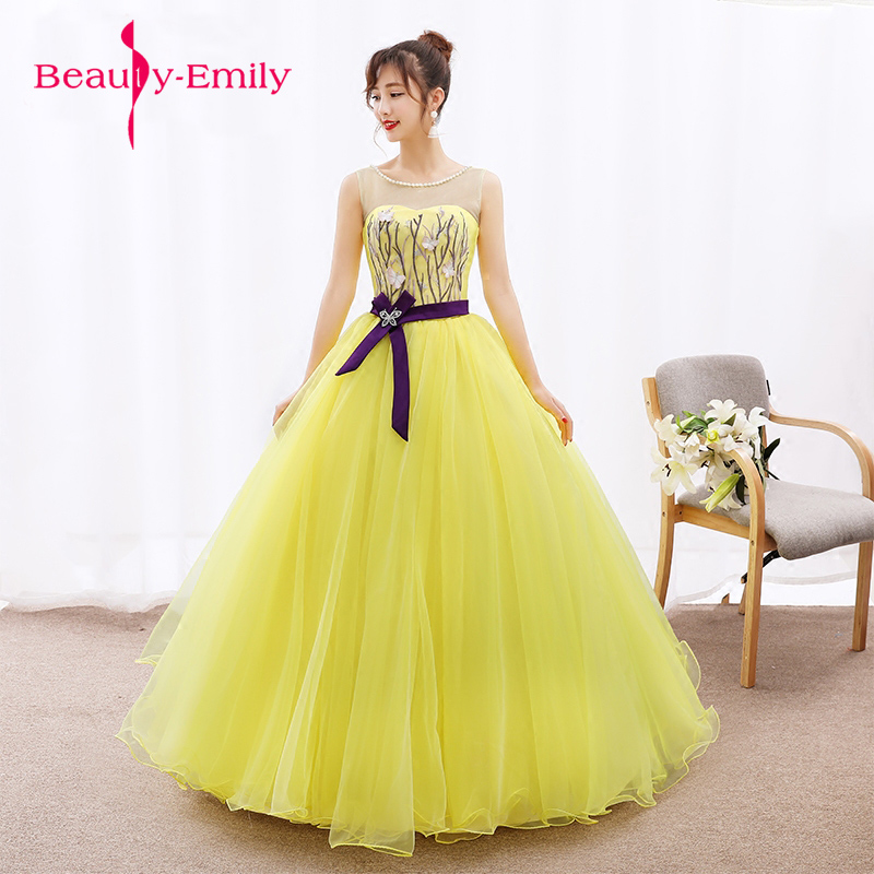 Bright yellow tulle Appliques O-neck Long   Evening     Dresses   The Bride Sleeveless ribbon belt Beading Party Formal   Dress   Customized
