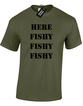 HERE FISHY MENS T-SHIRT FUNNY FISHERMAN ANGLER CARP GIFT PRESENT MenS T-Shirts Summer Style Fashion free shipping