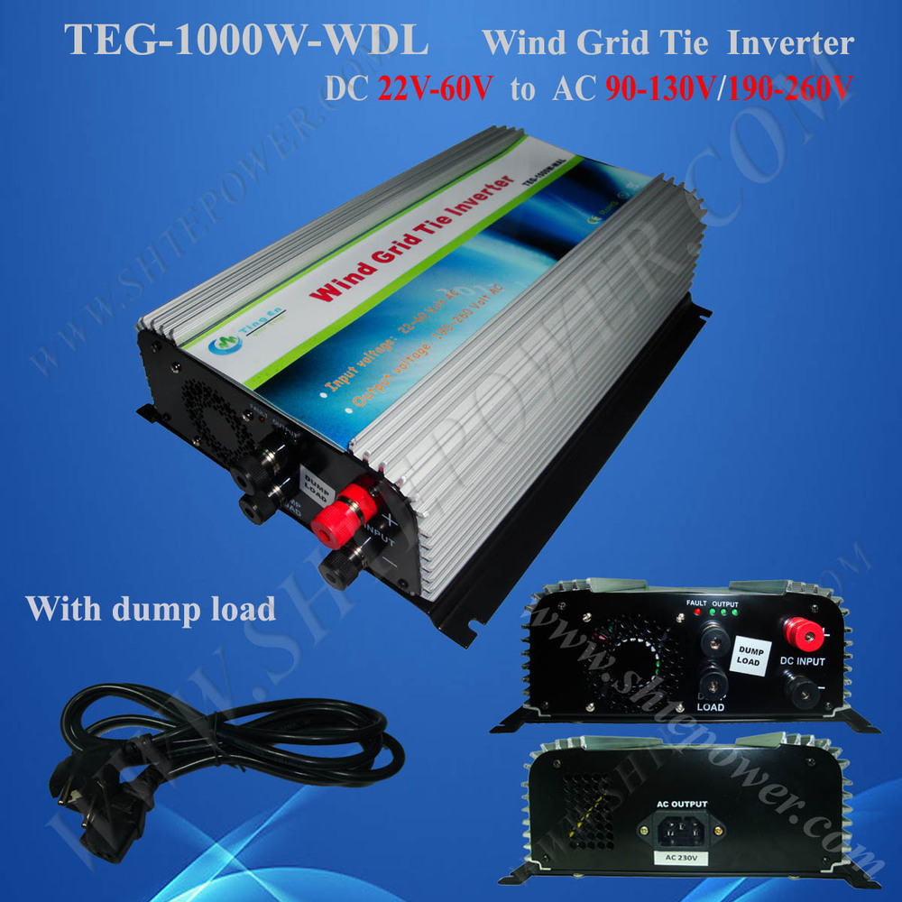 micro inverter! 1000w wind grid tie power inverter, DC 22-60v to 230v, DC to AC wind inverter 1kw with Dump load controller 2000w wind power grid tie inverter with limiter dump load controller resistor for 3 phase 48v wind turbine generator to ac 220v
