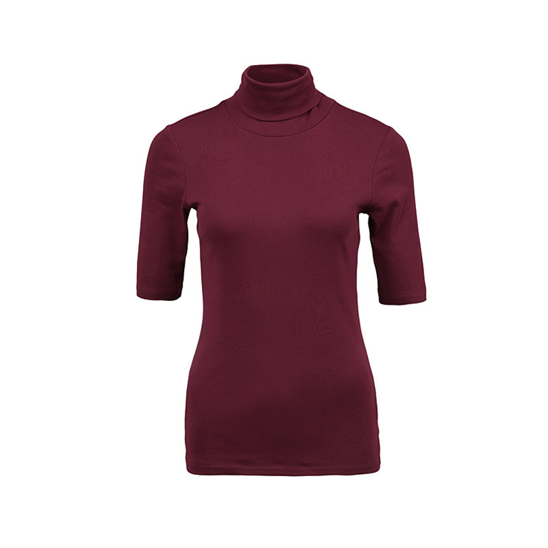 ef7392ad7357 Turtleneck Shirt Short Sleeve Turtleneck High Quality Solid Color Bodycon  Sexy Slim Fit Women T Shirt-in T-Shirts from Women's Clothing on  Aliexpress.com ...