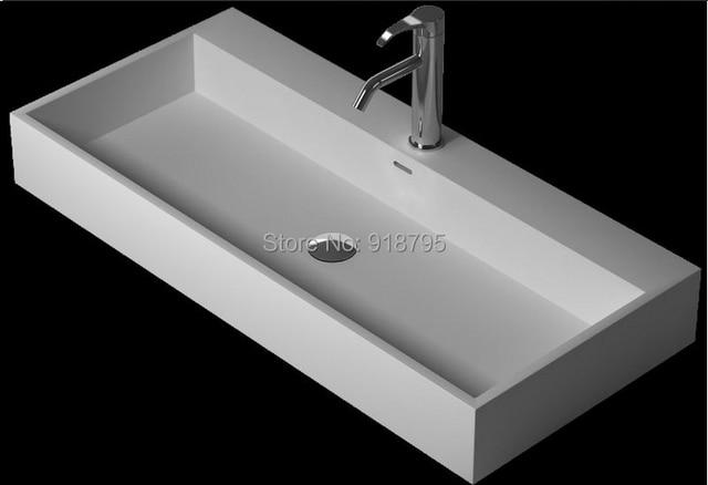 Bad Matt Solid Surface Stein Waschen Waschbecken Rechteckig Unter ... | {Waschbecken rechteckig stein 65}