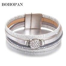 Punk Style Shiny Bracelets For Women 3 Color Leather Bracelet & Bangles Men Crystal Beaded Charm Party Jewelry