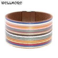 WELLMORE women bracelets multicolor leather bracele