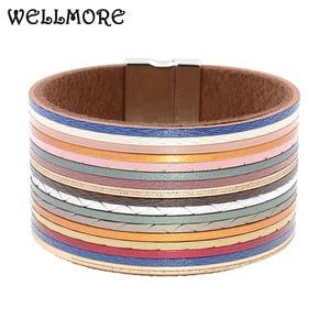 WELLMORE women bracelets multicolor leat