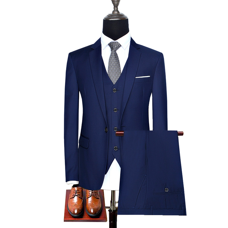 Hot Selling blazers Business Mens Suits 3 Pieces Jacket+Pants+vest Wedding Tuxedos Groomsmen Solid color Man Formal Suit set