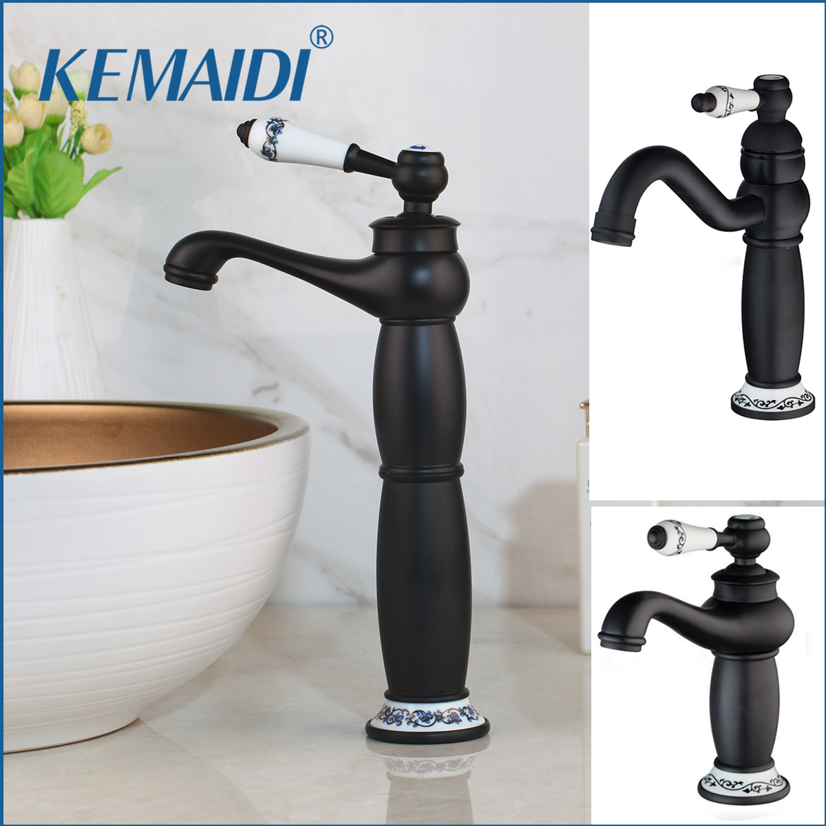 KEMAIDI Single Handle Bathroom Basin Faucets Cold/Hot Mixer Basin Sink Tap Black Water Kitchen Faucet Bathroom Accessories