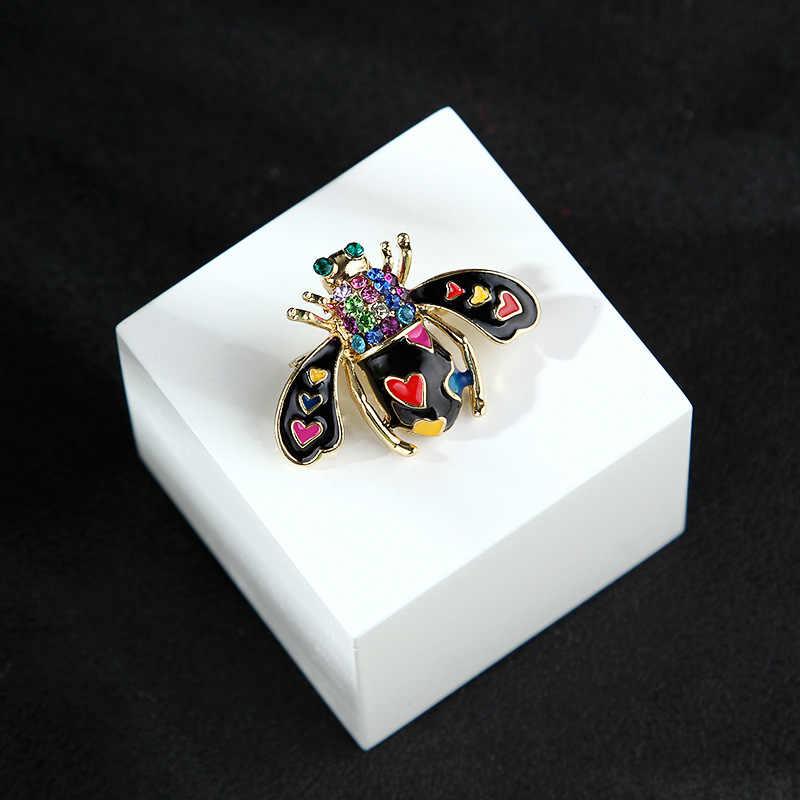Klasik Paduan Berlian Imitasi Hitam dan Ungu Lebah Bros untuk Pria Wanita Vintage Serangga Pesta Perjamuan Bros Hadiah