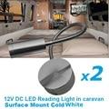 2x12 V DC LED Luz De Lectura Flexible de aleación de Aluminio de Plata Blanco Frío RV/Caravana/Autocaravana/Remolque Camper Lámpara De Pared Interior