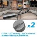 2x12 V DC LED de Luz de Leitura Flexível Branco Frio liga de Alumínio de Prata RV/Caravan/Motorhome/Reboque de campista Lâmpada De Parede Interior