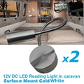 2x12V DC LED Flexible Reading Light Cold White Silver Aluminum alloy RV/Caravan/Motorhome/Camper Trailer Interior Wall Lamp
